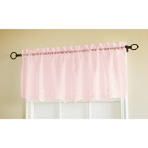 Roslyn Embroidered Valance, Pink - 54 Inches X 18 Inches