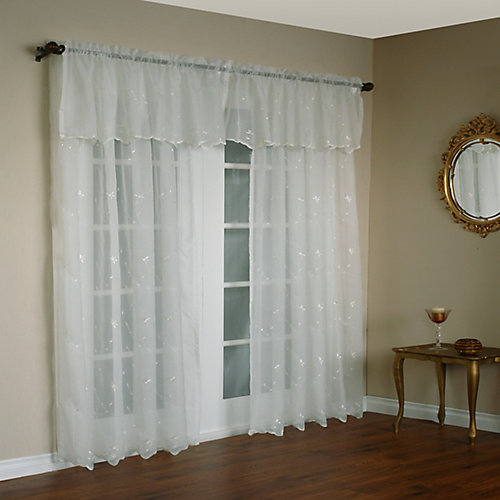 Roslyn Embroidered Valance 54X18 Inches  Ivory
