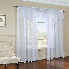 Roslyn Embroidered Valance 54X18 Inches, White