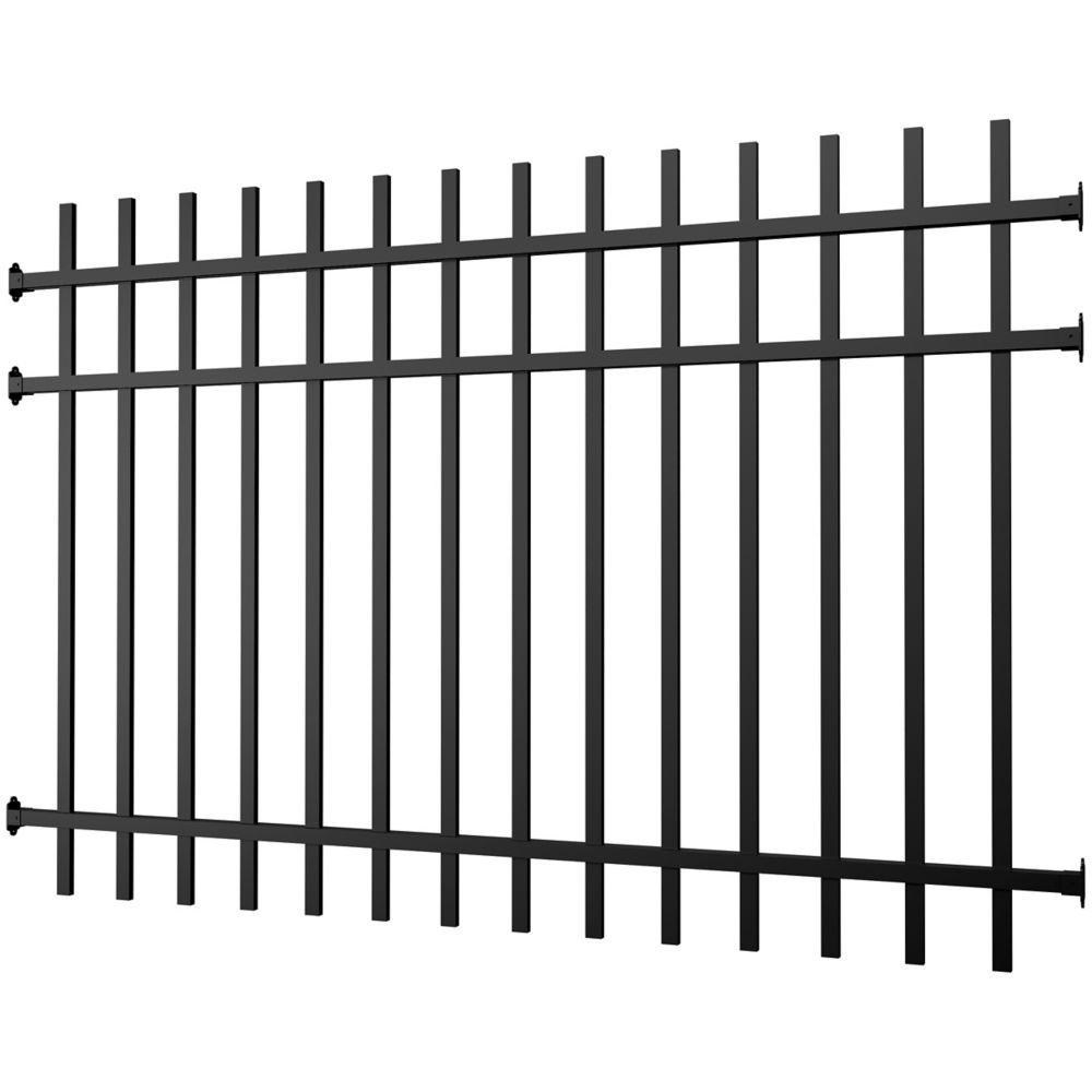 Panneau clôture aluminium noir 4 pieds