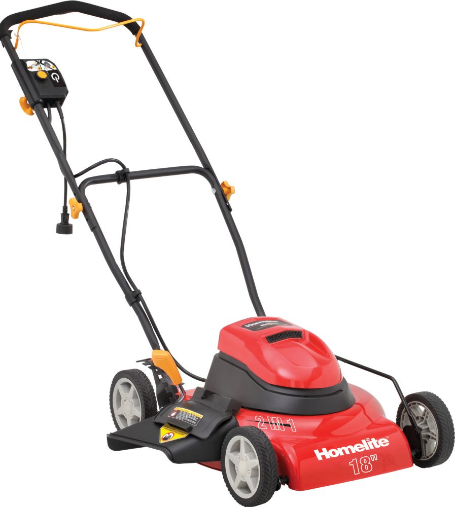 Homelite 18-inch Corded 2-in-1 Electric Lawn Mower