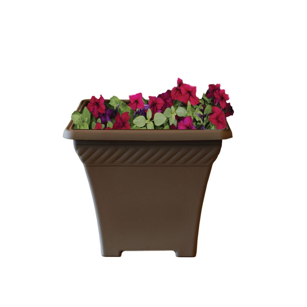 15 In. Square Rope Planter - Brass