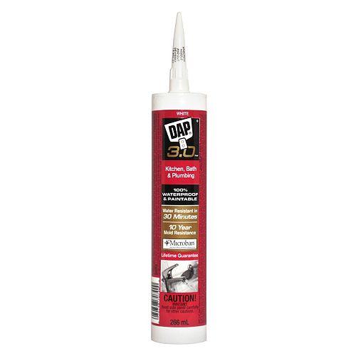 DAP 3.0 Kitchen, Bath & Plumbing High Performance Sealant - White - 266 ml