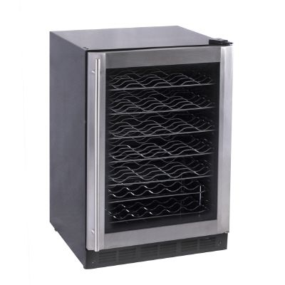 Stainless Steel and Black Wine Cooler � 50-Bottle Capacity
