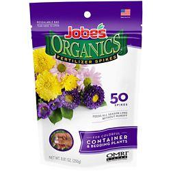 Jobe's Organics Organics Container & Bedding Plants Fertilizer Spikes, (50-Pack)