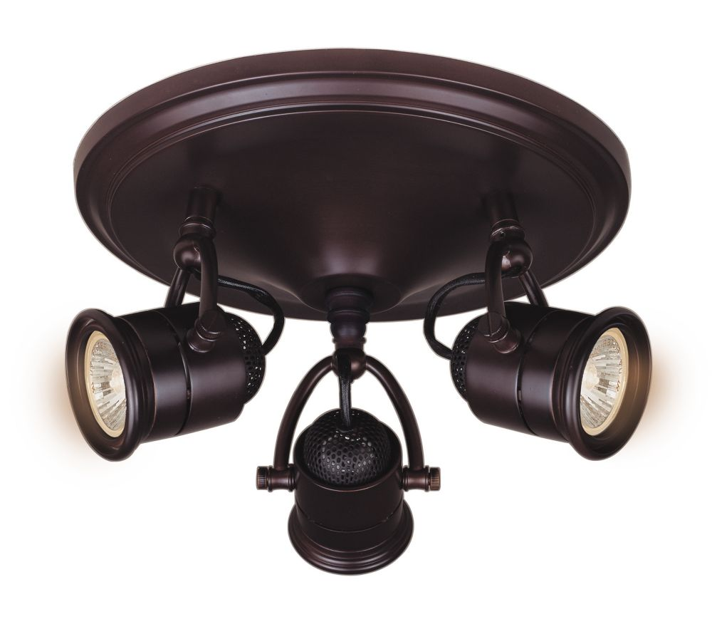 Hampton Bay Ceiling Light Fixtures: Hampton Bay 3-Light Retro Pinhole Cylinder Semi-Flushmount