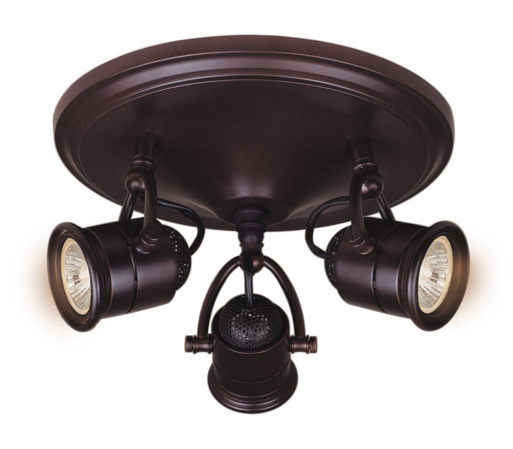 3 Light Retro Pinhole Cylinder Semi-Flushmount Ceiling Fixture Antique Bronze Finish