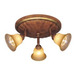Hampton Bay 3 Light Retro Pinhole Cylinder Semi-Flushmount Track Bar Fixture Walnut Finish