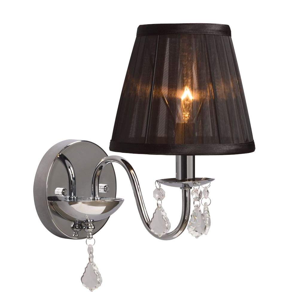 Wall Sconces With Black Shades : Hampton Bay Chrome Wall Sconce With Black Shade and Crystal Drops The Home Depot Canada