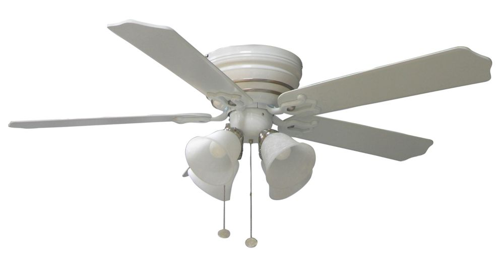 Hampton Bay Carriage House White Ceiling Fan With Nickel Accent 44 Inch The Home Depot Canada