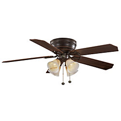 Hampton Bay Carriage House 52-inch LED Indoor Iron Flushmount Ceiling Fan