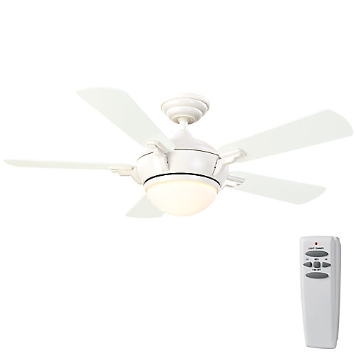 Midili 44-inch 5-Blade White Indoor Ceiling Fan with Light Kit, Remote Control and Reversible Blades