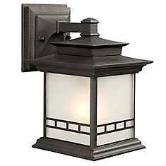 1-Light Outdoor Wall Light Fixture in Black with Frosted Glass