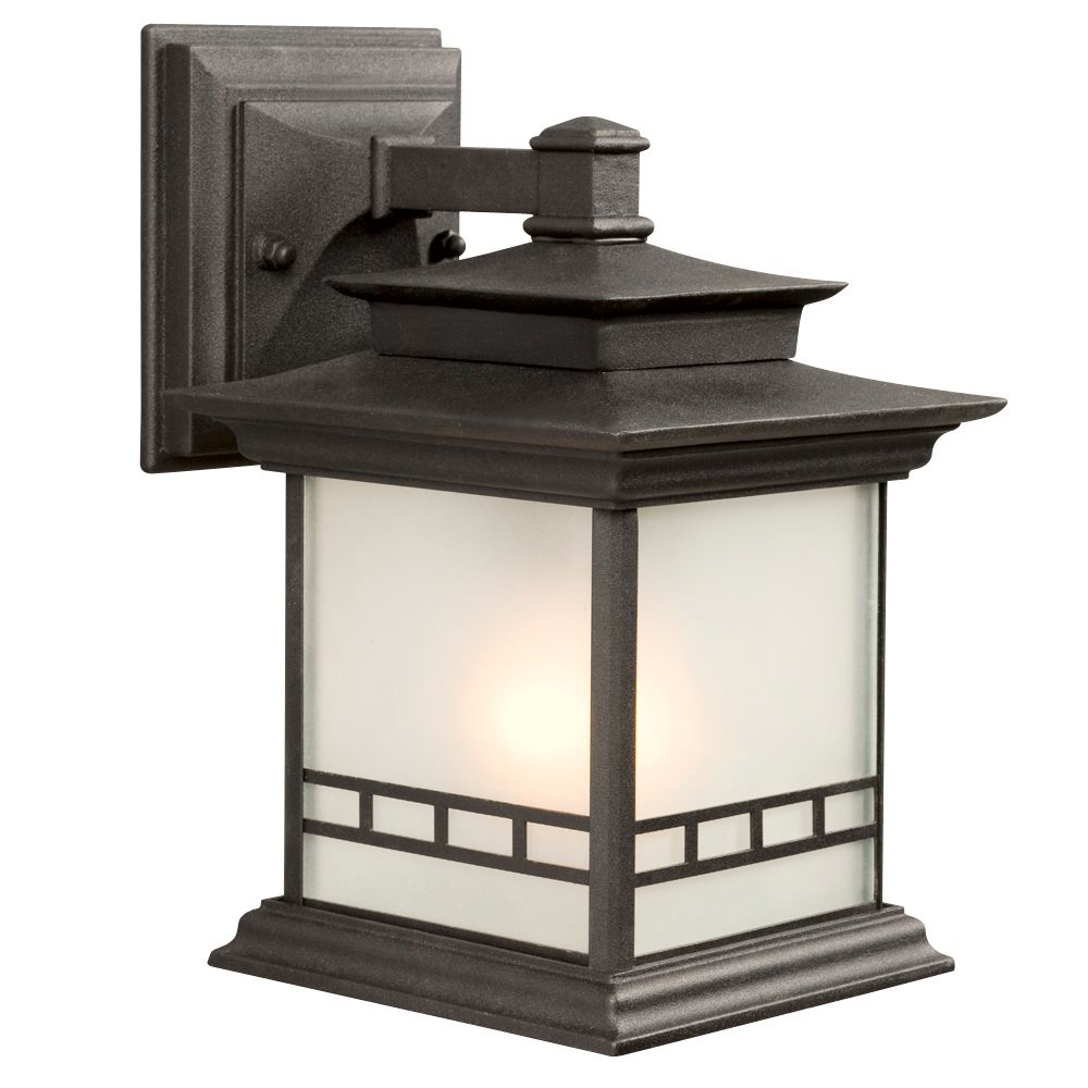 Black Outdoor Fixture With Frosted Glass