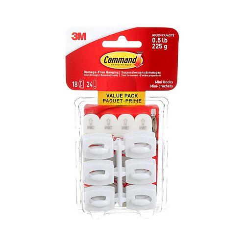 Command Mini Hooks Value Pack, 17006VP-C, white