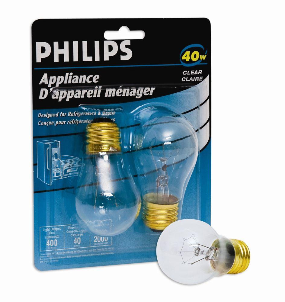 40W Appliance Bulb Clear 2Pk