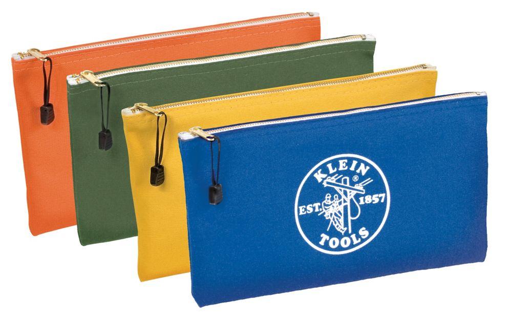 Coloured Canvas Zipper Bag - 4 Pack
