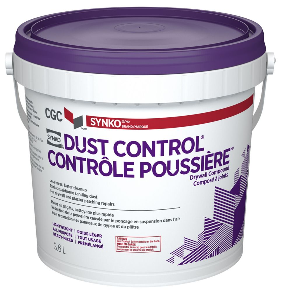 DUST CONTROL Drywall Compound, Ready Mixed, 3.6 L Pail