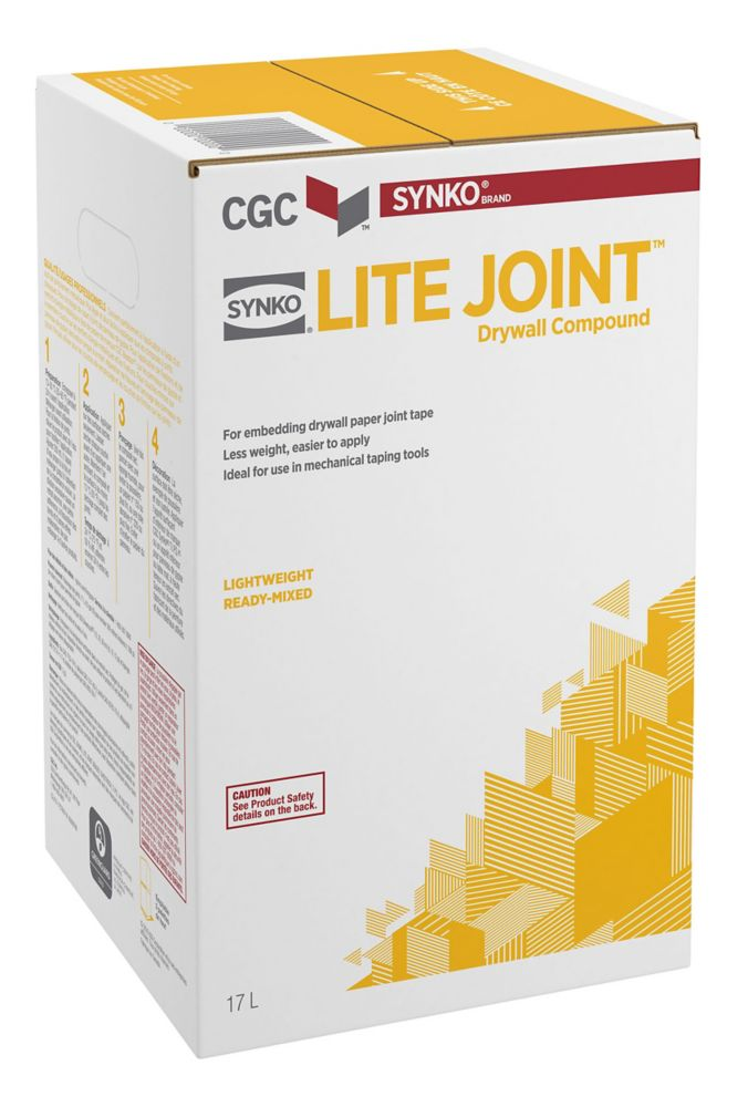 Lite Joint Drywall Taping Compound, Ready Mixed, 15.5 L Carton