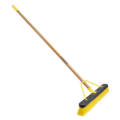 Quickie Job Site 24-inch Indoor Outdoor Push Broom Set Up with 60-inch Wood Handle