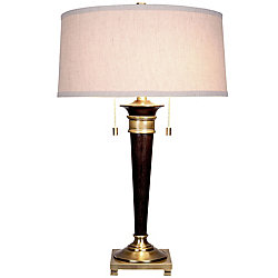 Hampton Bay 26-inch Table Lamp in Bronze with Linen Shade