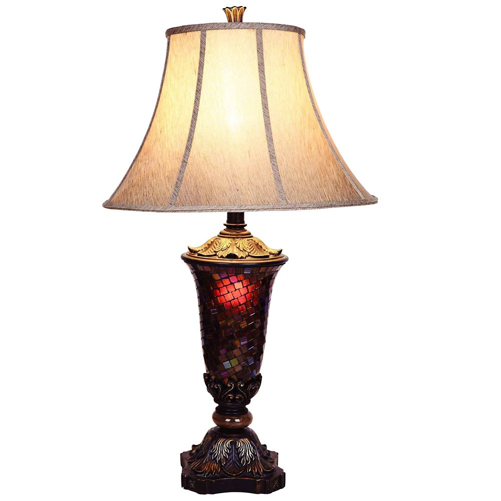 Hampton Bay 33.5-inch Mosaic Table Lamp with Black and Gold Accents