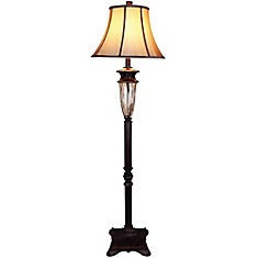 63.5-inch Floor Lamp in Bronze with Gold and a Fluted Glass Accent