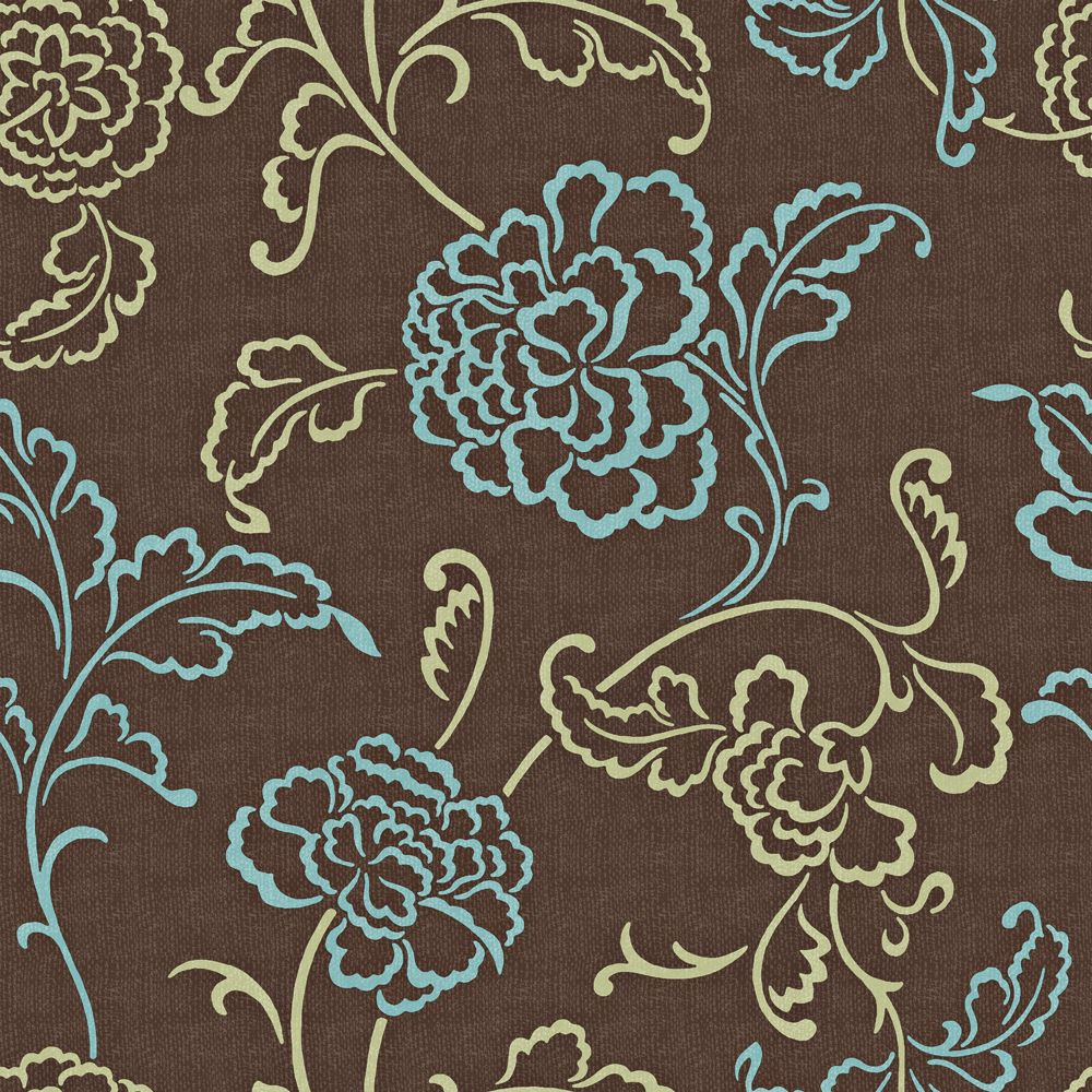 20.5 In. W Brown, Blue and Sage Modern Linear Floral and Leaf on a Woven Background Wallpaper
