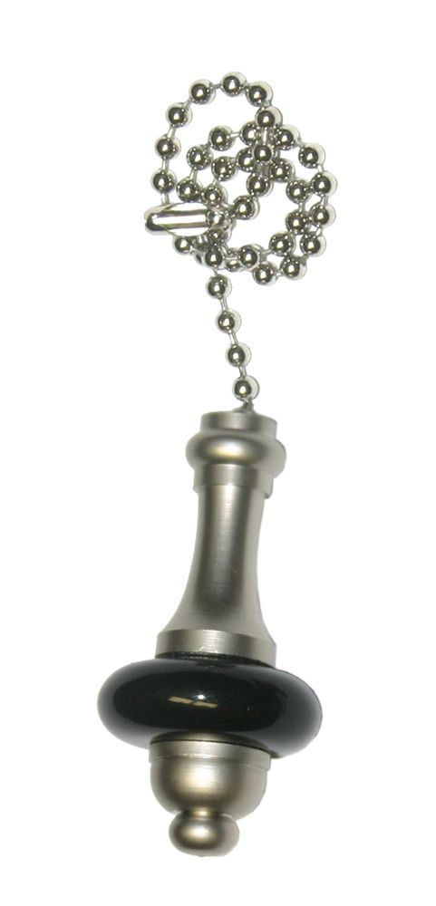 Black and Pewter Pullchain with 36 Inch (91.4 cm) Pewter Beaded Chain