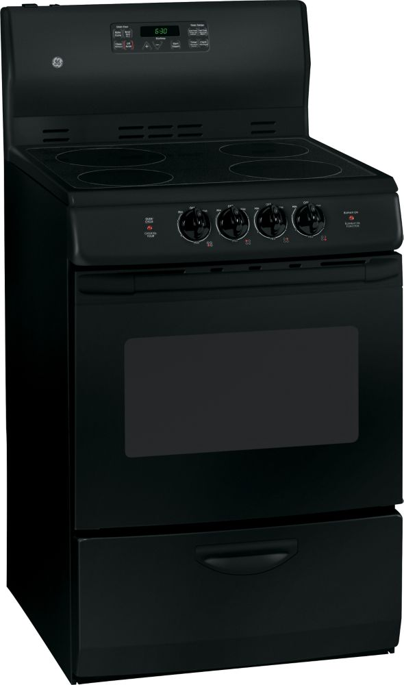 3.0 cu. ft. Electric Free-Standing Self-Cleaning Range in Black