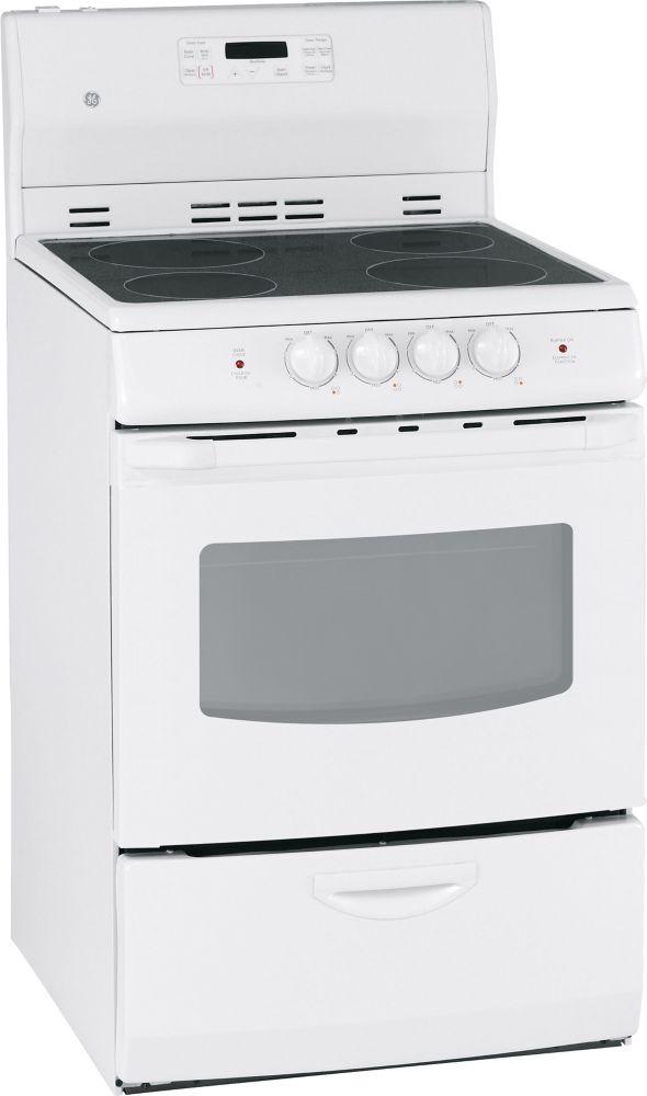 ge ge blanc cuisiniere a electrique autonettoyante de 24. Black Bedroom Furniture Sets. Home Design Ideas