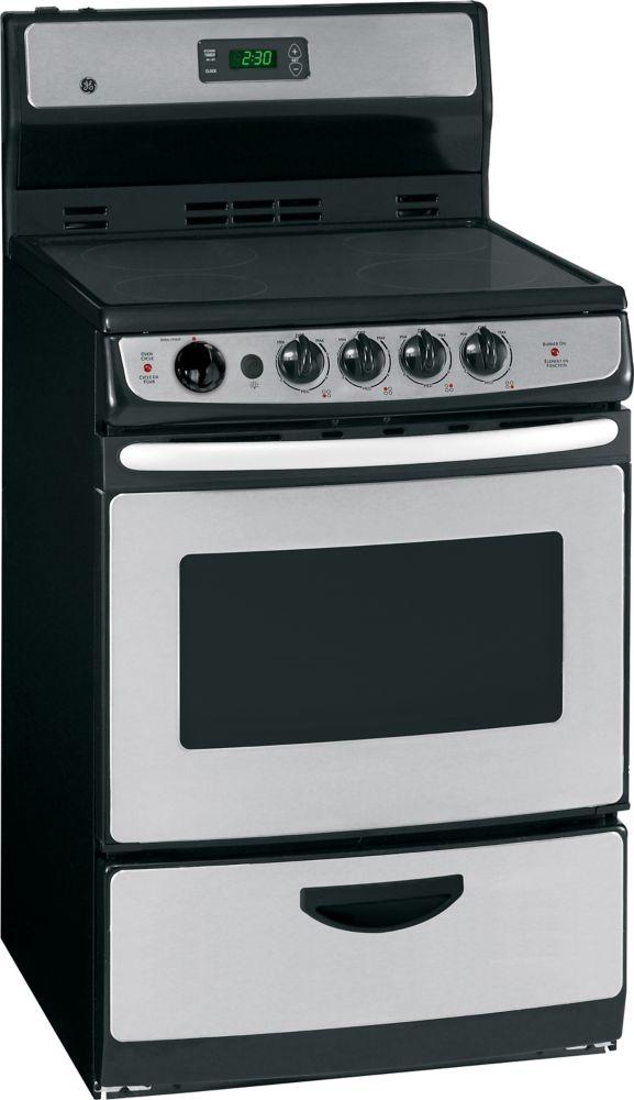 GE Acier inoxydable Cuisinière électrique de 24 po avec four à nettoyage standard - JCAS745MSS