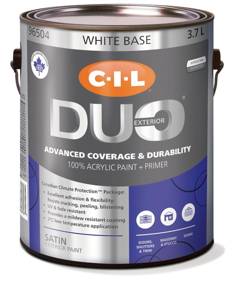 CIL Duo Exterior Satin White Base 3.7 L