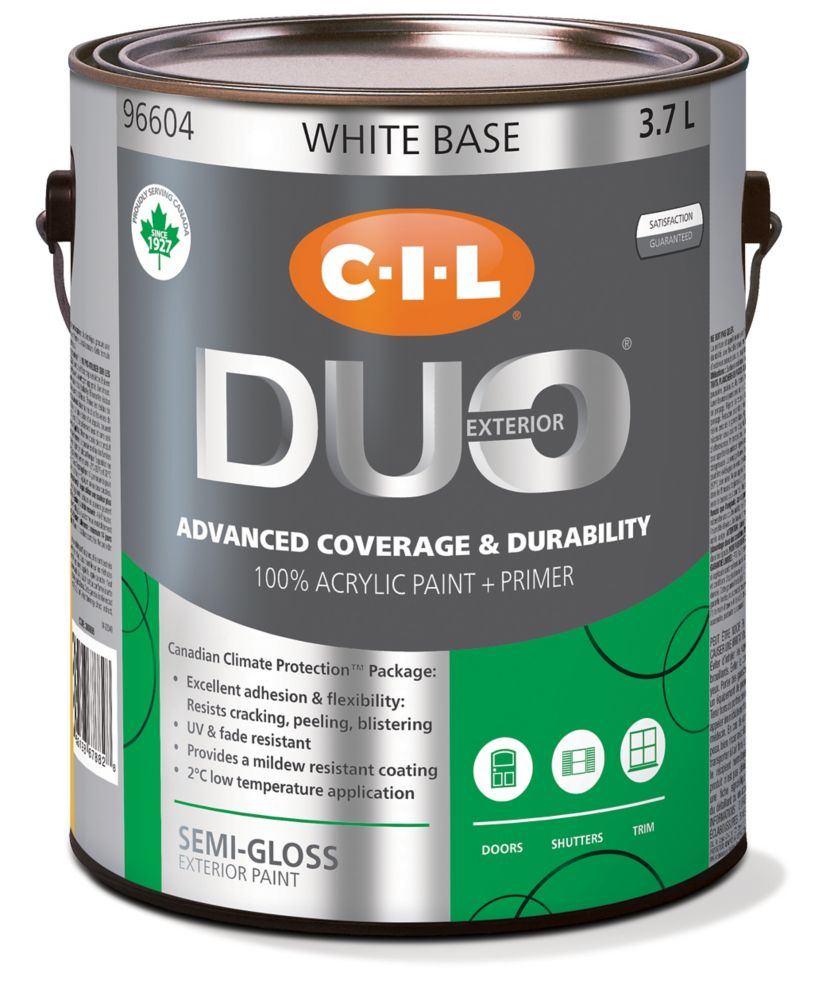 Cil duo exterior semi gloss white base 3 7 l the home depot canada - Exterior white gloss paint image ...