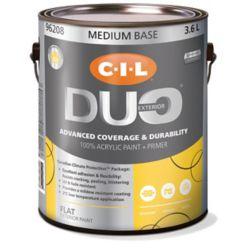 CIL Duo Peinture d'extérieur CIL DUO fini mat - Base moyenne, 3,6 L