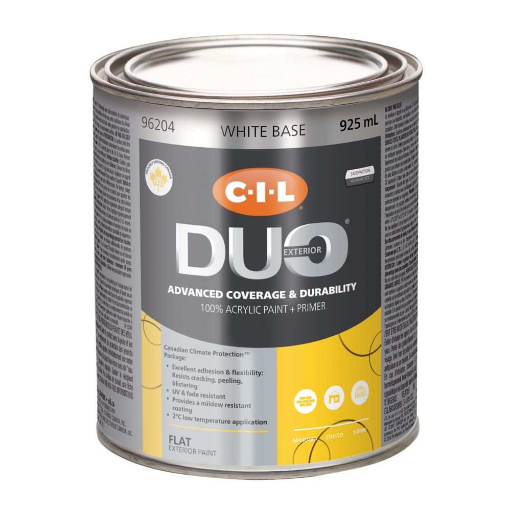 cil duo peinture d 39 ext rieur cil duo fini mat base blanche 925 ml home depot canada. Black Bedroom Furniture Sets. Home Design Ideas