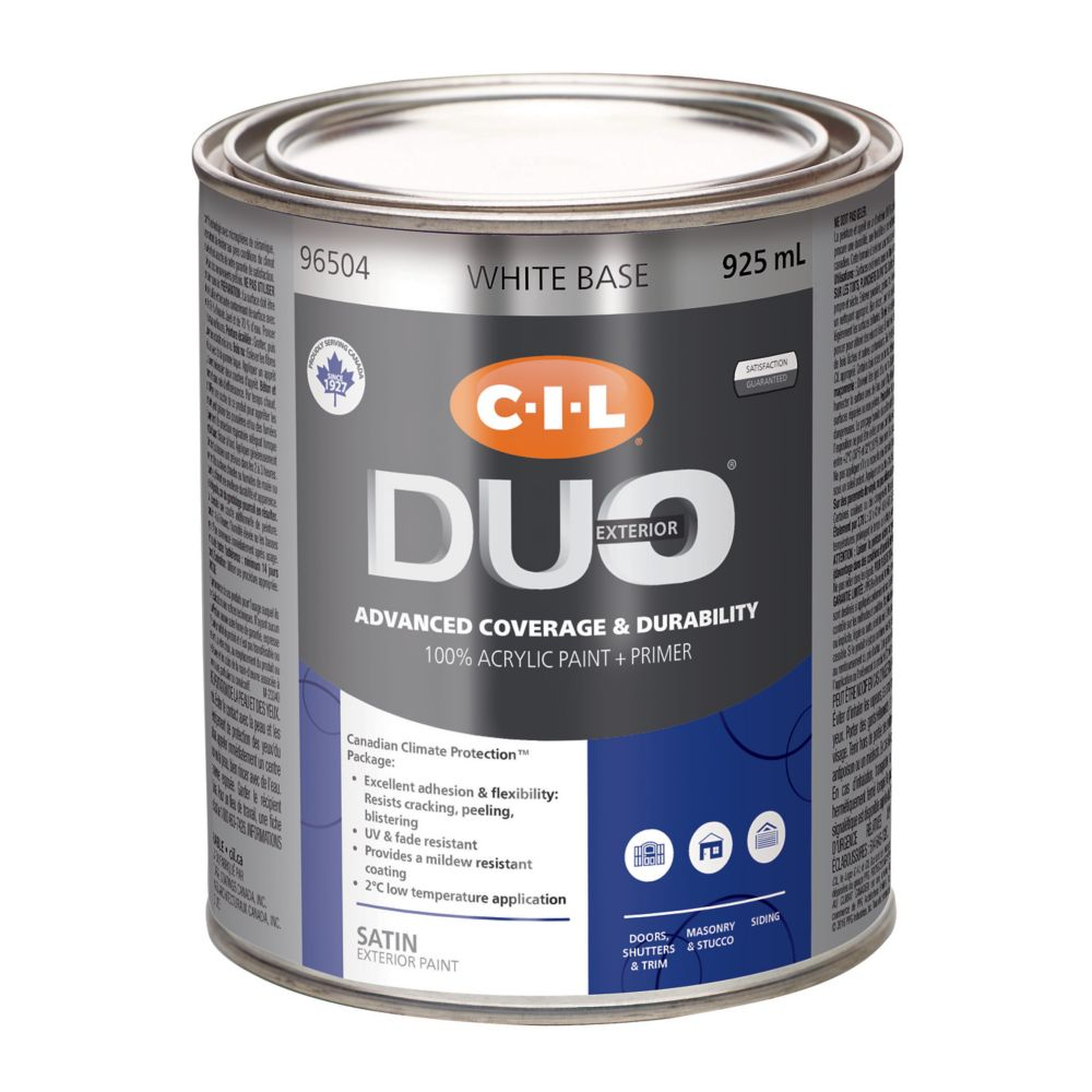 cil duo peinture d 39 ext rieur cil duo fini satin base blanche 925 ml home depot canada. Black Bedroom Furniture Sets. Home Design Ideas