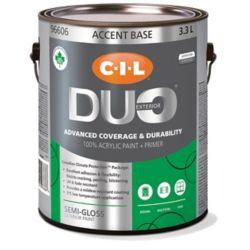 CIL Duo Peinture d'extérieur CIL DUO fini semi-lustré - Base accent, 3,3 L