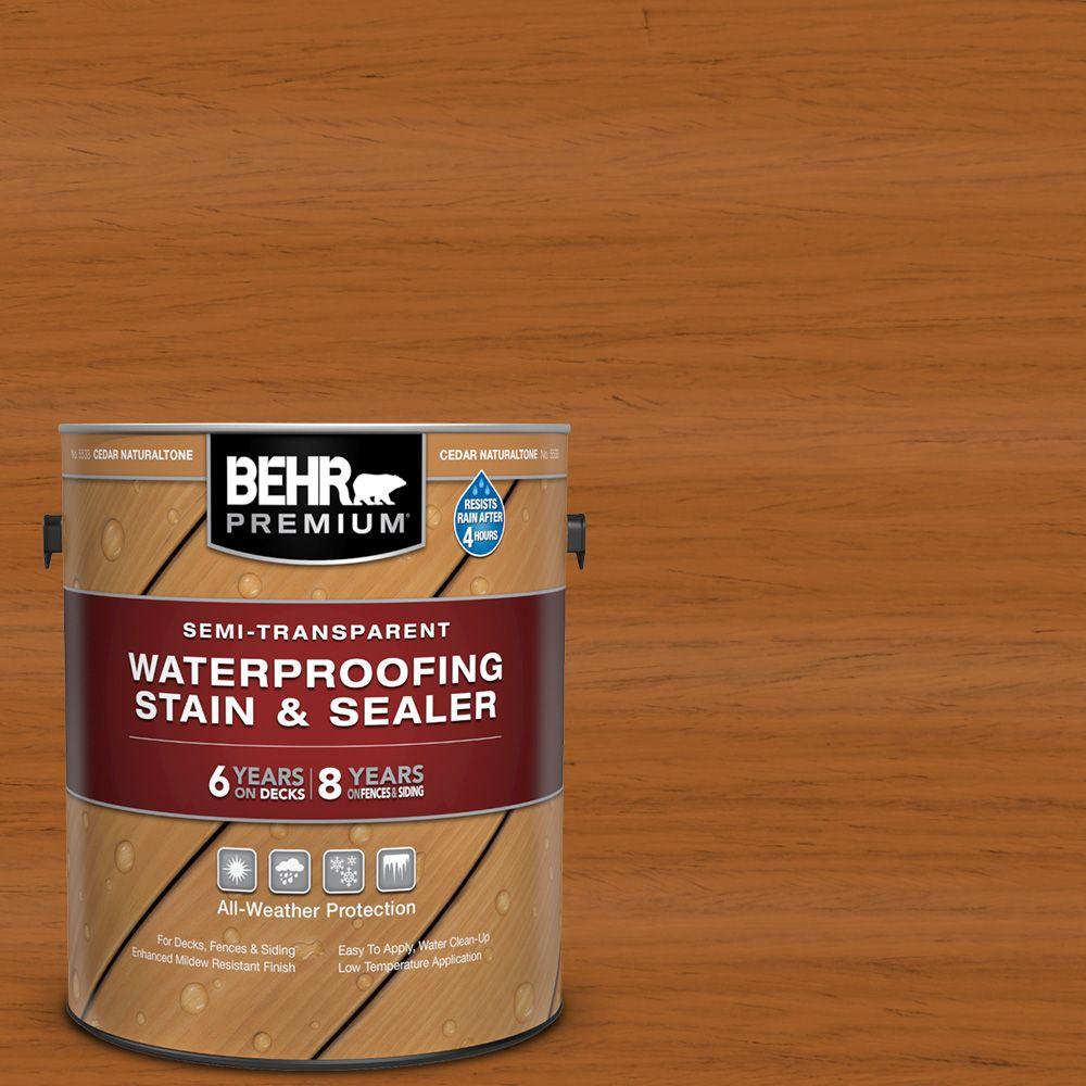 Behr Premium Semi-Transparent Weatherproofing Wood Stain, Cedar Naturaltone, 3.79 L
