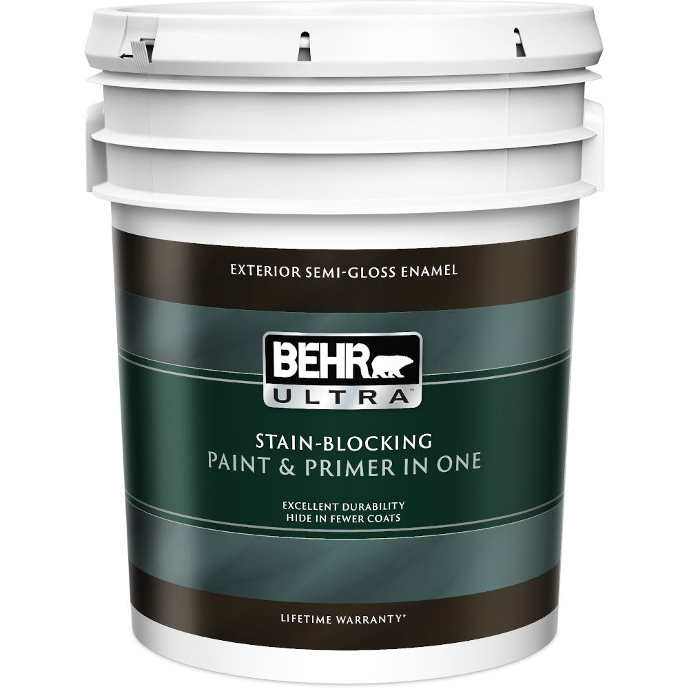 Behr Premium Plus Ultra Exterior Paint Primer In One Semi Gloss Enamel Ultra Pure White 18