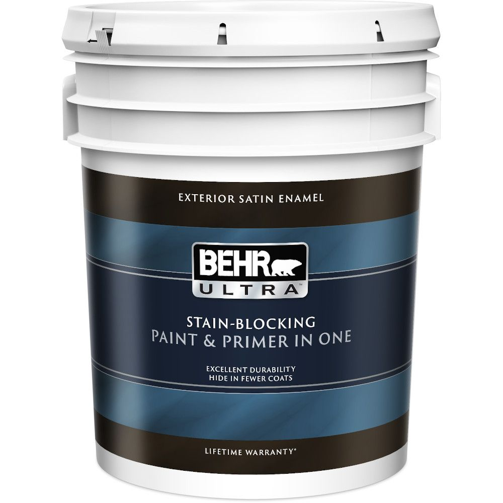 Behr premium plus ultra exterior paint primer in one satin enamel ultra pure white 18 9 l for Behr exterior paint with primer reviews