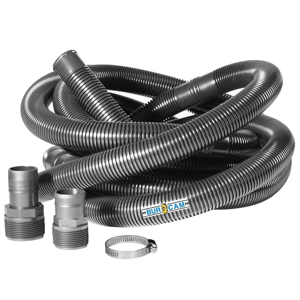 Bur-Cam 1 1/4 inch drain hose with adaptors for 1 1/4 and 1 1/2 inches pump discharge