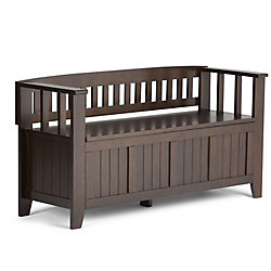 Acadian 48-inch x 25-inch x 17-inch Solid Wood Frame Bench in Brown