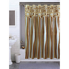Retro Square Shower Curtain, Taupe - 70 Inches x 72 Inches