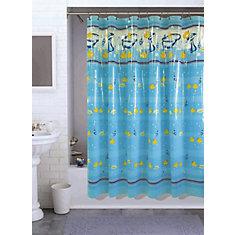 Rub A Duck Shower Curtain, Aqua - 70 Inches x 72 Inches