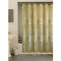 Filagree Shadow Shower Curtain, Linen - 70 Inches x 72 Inches