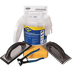 Ceramic Floor Tile Installation Kit Including a Trowel, Float, Nippers, Gloves, Sponge and Bucket