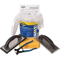 QEP Ceramic Floor Tile Installation Kit Including a Trowel, Float, Nippers, Gloves, Sponge and Bucket