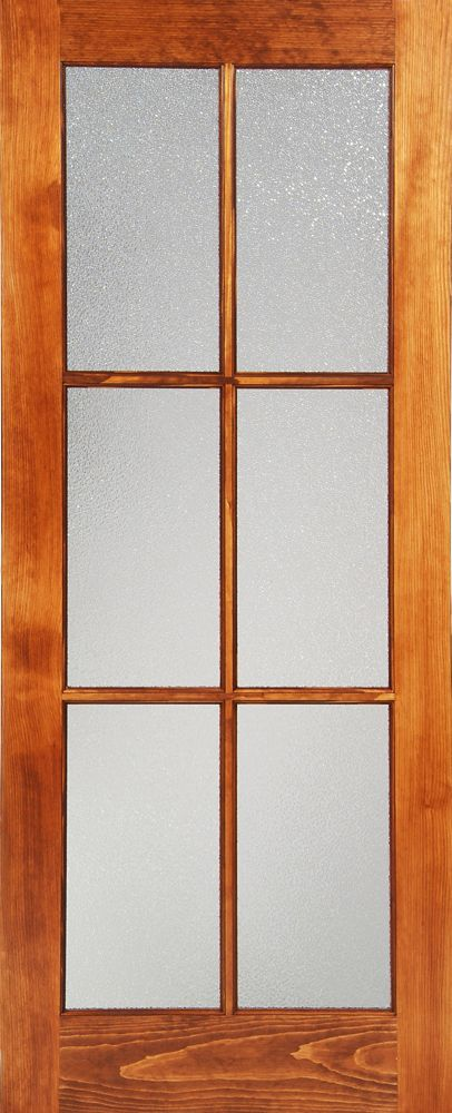 Milette 24-inch x 80-inch Clear Pine Interior 6 lite French Door with Konfetti Privacy Glass