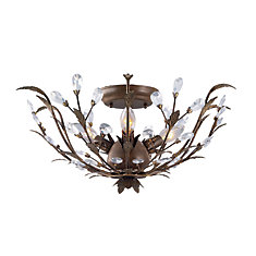 20.75-inch Semi-Flushmount Ceiling Light Fixture in Bronze with Crystal Accents